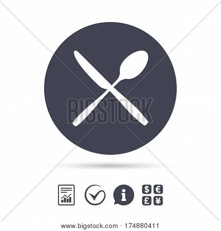 Eat sign icon. Cutlery symbol. Knife and spoon crosswise. Report document, information and check tick icons. Currency exchange. Vector