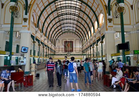 People Travel And Shopping At Ho Chi Minh Central Post Office