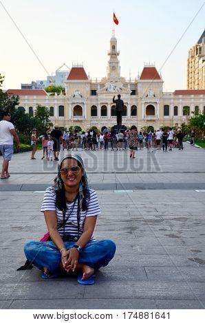 Thai Woman Portrait At Ho Chi Minh Square