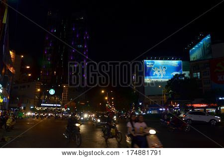 Cityscape And Traffic Of Saigon City In Night Time