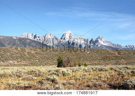 Grand Tetons mountain range in Grand Tetons national park