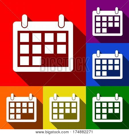 Calendar sign illustration. Vector. Set of icons with flat shadows at red, orange, yellow, green, blue and violet background.