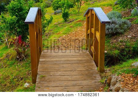 A small footbridge in a lush green garden.