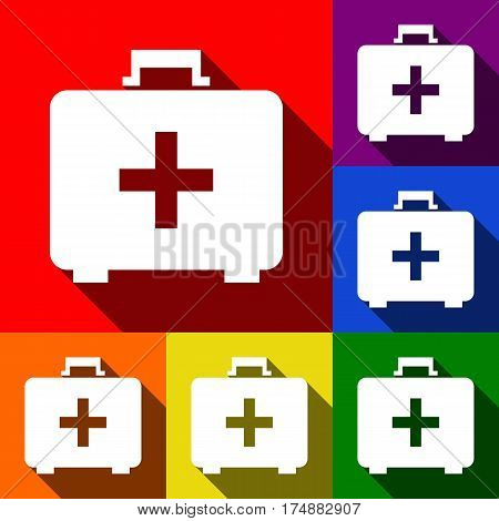 Medical First aid box sign. Vector. Set of icons with flat shadows at red, orange, yellow, green, blue and violet background.