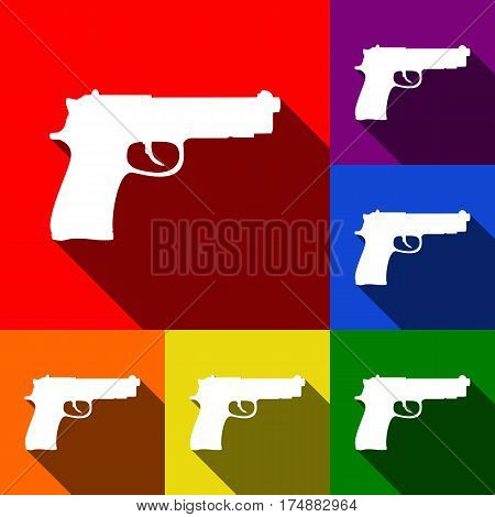 Gun sign illustration. Vector. Set of icons with flat shadows at red, orange, yellow, green, blue and violet background.