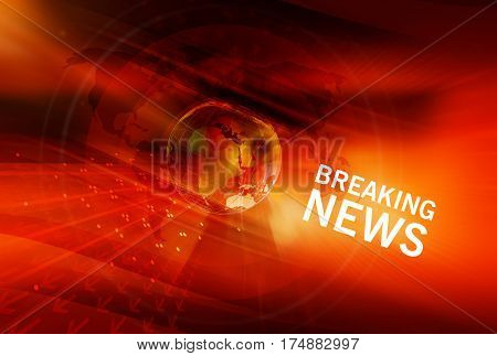 Graphical Breaking News red Background with Earth Globe in Center. 3d Illustration 3d Render