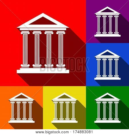 Historical building illustration. Vector. Set of icons with flat shadows at red, orange, yellow, green, blue and violet background.