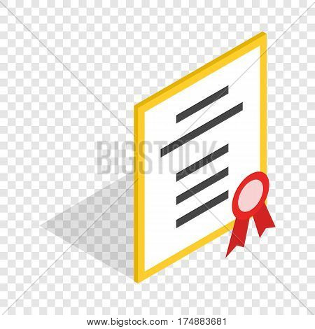 Diploma or certificate isometric icon 3d on a transparent background vector illustration
