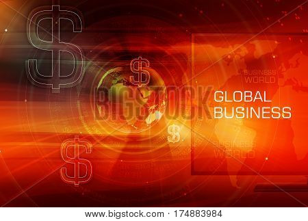 Graphical Finance and Global red Business Background with Earth Globe and Round Circles and Dollar Signs. 3d illustration 3d render