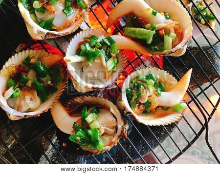 Delicious Shell Or Clams Mussels On Hot Fire Coal Grill