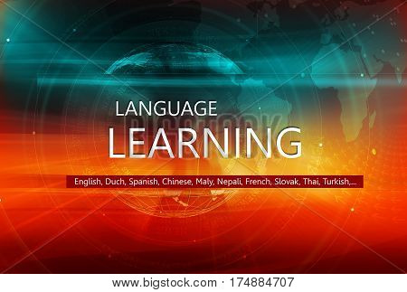 Learn Foreign Languages Graphical Background with Earth Globe and Language Learning Text on Transparent Bar. 3d illustration 3d render