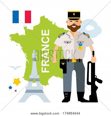 French Military with a gun. Isolated on a white background