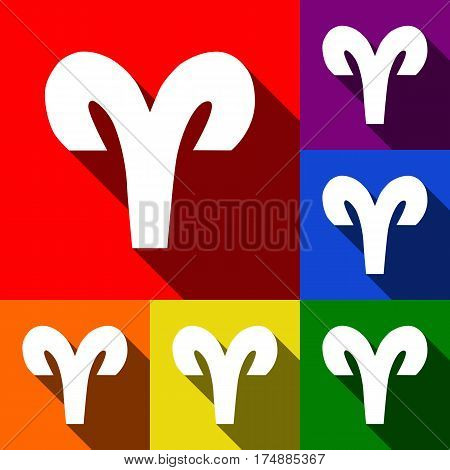 Aries sign illustration. Vector. Set of icons with flat shadows at red, orange, yellow, green, blue and violet background.