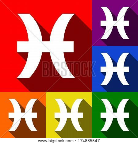 Pisces sign illustration. Vector. Set of icons with flat shadows at red, orange, yellow, green, blue and violet background.
