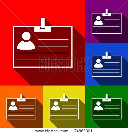 Id card sign. Vector. Set of icons with flat shadows at red, orange, yellow, green, blue and violet background.