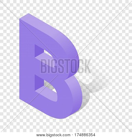 B letter in isometric 3d style with shadow. Violet B letter vector illustration