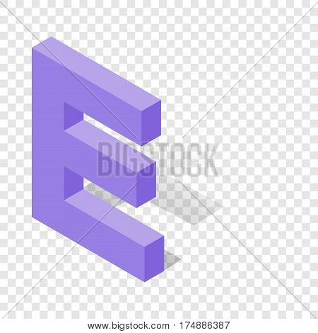 E letter in isometric 3d style with shadow. Violet E letter vector illustration
