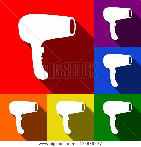 Hair Dryer sign. Vector. Set of icons with flat shadows at red, orange, yellow, green, blue and violet background.