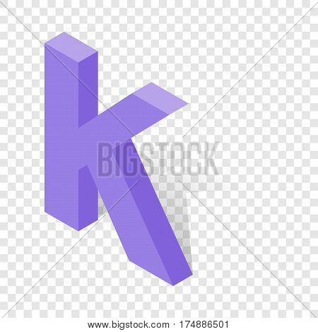 K letter in isometric 3d style with shadow. Violet K letter vector illustration