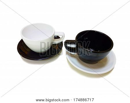 White and Black coffee cup,White coffee cup,Black coffee cup,Empty cup on white background,White cup on black saucer,Black cup on white saucer