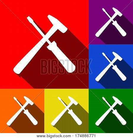 Tools sign illustration. Vector. Set of icons with flat shadows at red, orange, yellow, green, blue and violet background.