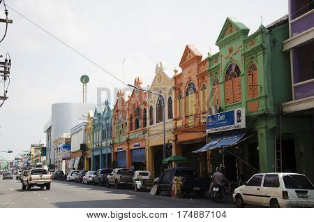 Colorful Building Old Town And Landscape Traffic Road Of Hat Yai City