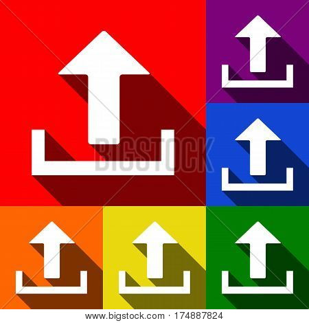 Upload sign illustration. Vector. Set of icons with flat shadows at red, orange, yellow, green, blue and violet background.