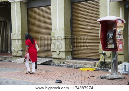 Malaysian Woman People Walking Leave Public Telephone