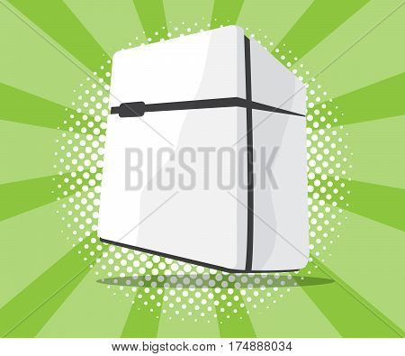abstract refrigerator icon with burst and half tone background vector illustration