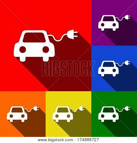 Eco electric car sign. Vector. Set of icons with flat shadows at red, orange, yellow, green, blue and violet background.