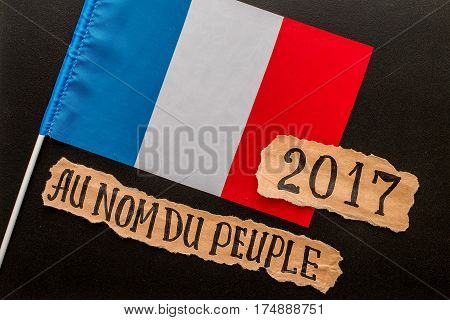 Elections in France. Hand writing text on a piece of paper. Election concept