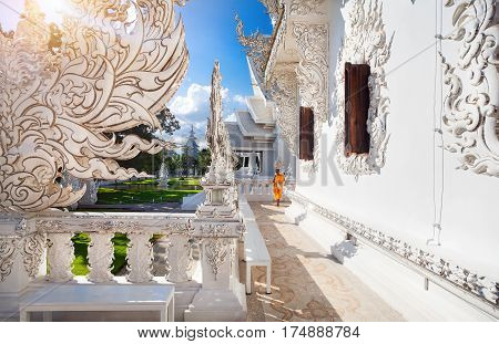 Monk In White Temple In Chiang Rai