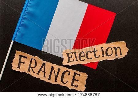 Election, FRANCE,  2017, inscription on torn paper sheet. Voting, election concept
