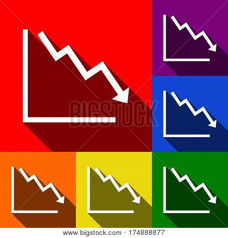 Arrow pointing downwards showing crisis. Vector. Set of icons with flat shadows at red, orange, yellow, green, blue and violet background.