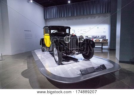 Los Angeles CA USA -- March 4 2017: Yellow and black 1929 Bugatti Type 44 Fiacre at the Petersen Automotive Museum in Los Angeles California United States. Editorial only.