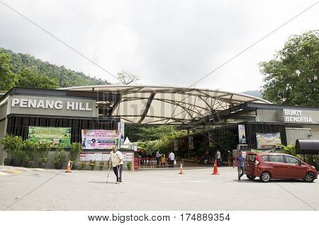Travelers And Malaysian People Travel And Buy Ticket At Penang Hill