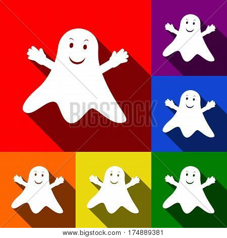 Ghost isolated sign. Vector. Set of icons with flat shadows at red, orange, yellow, green, blue and violet background.
