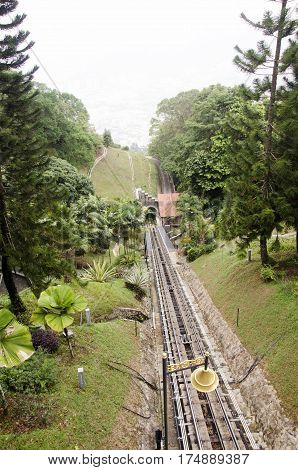 Train Or Tram For Travelers And Passender Up And Down The Penang Hill