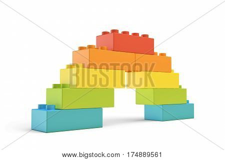 3d rendering of multi-colored toy blocks making up a rainbow bridge. Building sets. Children toys. Leisure and recreation.