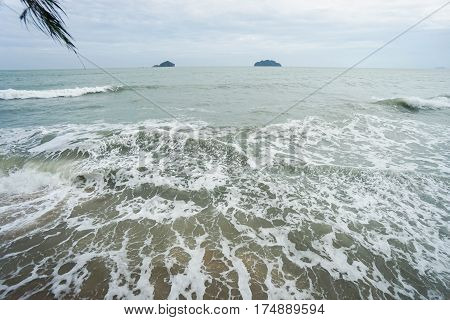 soft sea waves at the seashore in the afternoon