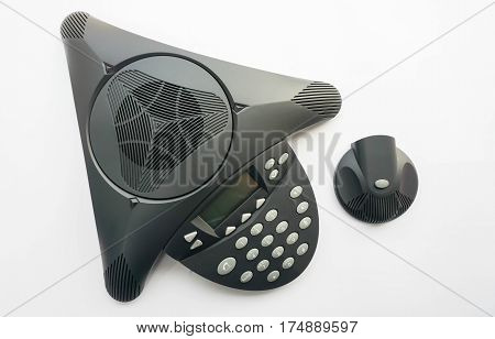top view isolated IP conference phone with portable speaker for meeting