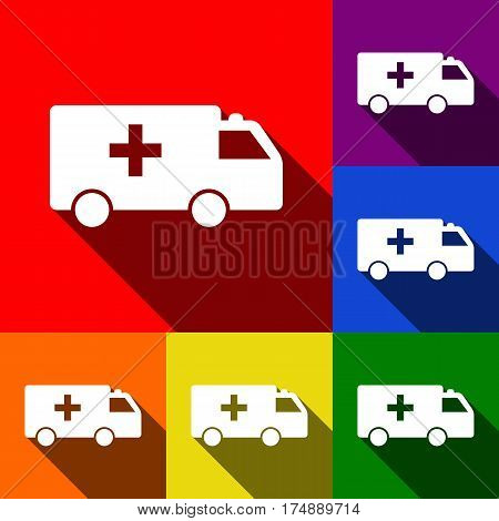 Ambulance sign illustration. Vector. Set of icons with flat shadows at red, orange, yellow, green, blue and violet background.