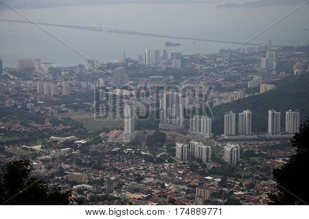 View Cityscape And Landscape Of Penang City From Viewpoint Of Penang Hill