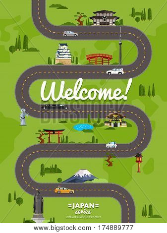 Welcome to Japan poster with famous attractions along winding road vector illustration. Travel design with Torii gate, Fujiyama mountain, Buddha, ancient temple, pagoda. Worldwide traveling concept