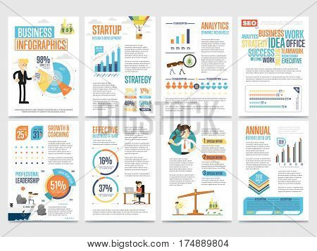 Business infographics banner set with charts vector illustration. Data visualization elements, marketing chart and graph. Business statistics, planning, analytics, startup strategy, coaching, teamwork