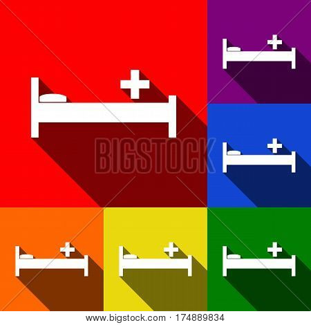 Hospital sign illustration. Vector. Set of icons with flat shadows at red, orange, yellow, green, blue and violet background.