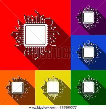 CPU Microprocessor illustration. Vector. Set of icons with flat shadows at red, orange, yellow, green, blue and violet background.
