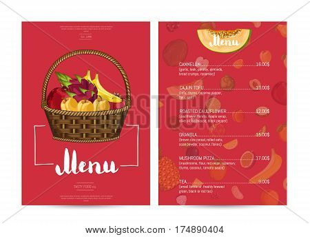Vegetarian restaurant food menu design vector illustration. Vegan cafe menu, price catalog vegetarian nutrition, natural sweet food, organic shop, healthy diet. Menu card template with fruit in basket