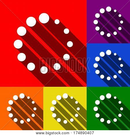 Circular loading sign. Vector. Set of icons with flat shadows at red, orange, yellow, green, blue and violet background.
