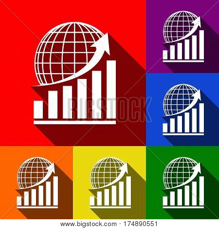Growing graph with earth. Vector. Set of icons with flat shadows at red, orange, yellow, green, blue and violet background.